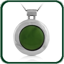 Bold, round silver pendant featuring a green Jade roundel.