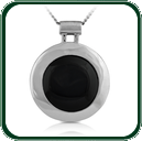 Bold, round silver pendant featuring a black Jade roundel.