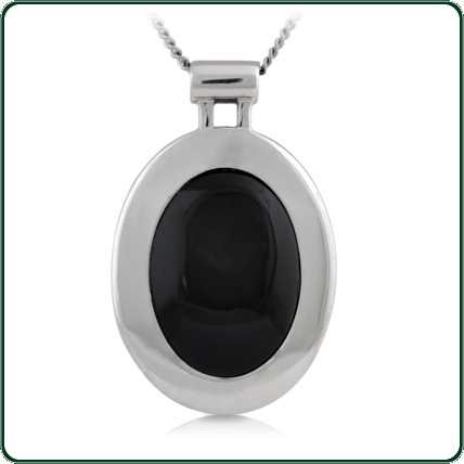 Eye-catching oval black Jade pendant featuring wide silver setting.