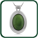 Eye-catching oval green Jade pendant featuring wide silver setting.