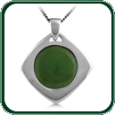 Two-piece silver lozenge pendant around a disc of green Jade.