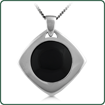 Two-piece silver lozenge pendant around a disc of Australian black Jade.