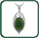 A Pacific inspired silver pendant featuring an oval of green Jade.