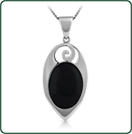 A Pacific inspired silver pendant featuring an oval of black Jade.