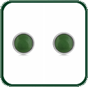 Delicate round green Jade studs framed in silver.