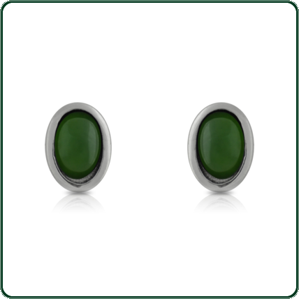 Refined, oval studs in green Jade mounted in a silver band.
