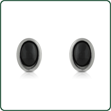 Refined, oval studs in black Jade mounted in a silver band.