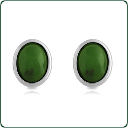 Subtle silver frame surrounds green Jade oval studs.