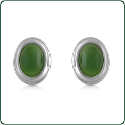 Lustrous silver bands enclose bright green Jade ovals to create these elegant studs.