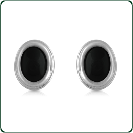 Lustrous silver bands enclose black Jade ovals to create these elegant studs.