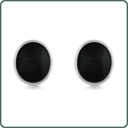 Silver and Jade semi-round stud earrings available in black Jade.