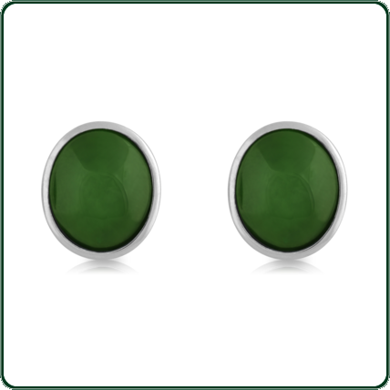 Silver and Jade semi-round stud earrings available in green Jade.