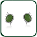 Unique, offset studs mounted in silver and featuring a choice of oval-cut green Jade.