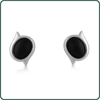 Unique, offset studs mounted in silver and featuring a choice of oval-cut black Jade.
