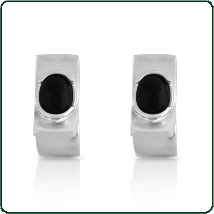 Elegant and attractive geometric silver studs featuring semiround black Jade centres.