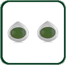 Subtle inverted silver teardrop stud earrings encompass gleaming green Jade ovals.