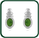 Glamorous and uniquely designed silver earrings set around bright green Jade ovals.