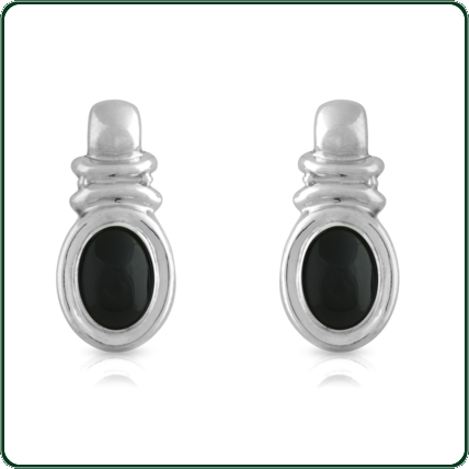 Glamorous and uniquely designed silver earrings set around black Jade ovals.