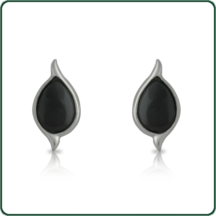 Inverted black Nephrite Jade teardrops in a delicate, nature-inspired silver setting.