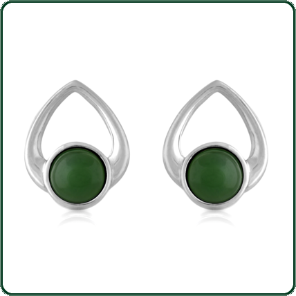 Looped hearts of silver hold delicate roundels of Jade in green.