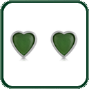 Delightful and subtle green Jade love heart stud earrings framed in fine silver.
