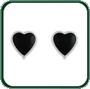 Delightful and subtle black Jade love heart stud earrings framed in fine silver.