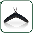 Matte finish black Jade boomerang pendant with tribal pattern detailing and plaited lacing.