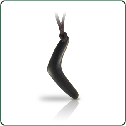 Black Jade boomerang amulet featuring matte finish and single end fixture.