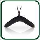 Australian dark Jade boomerang pendant with satin finish and centre lacing.