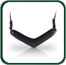Australian black Jade boomerang pendant with double end, traditional lacing.