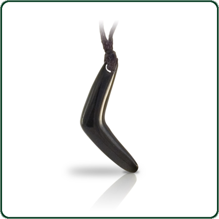 Delicate glossy black Nephrite Jade boomerang with single end lacing.