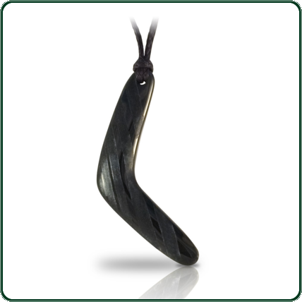 Delicately carved black Jade boomerang pendant featuring contrasting band design.