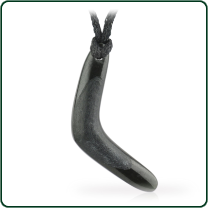 Black Jade boomerang amulet featuring contrasting satin and matte finish on looped lacing.