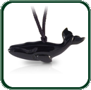 Carved black Jade whale pendant on plaited lacing. Highly popular.