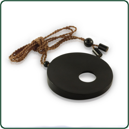 Australian dark Jade carved through disc pendant with delicate, bead-fixed lacing.