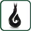 Traditional fish hook design carved in black Jade featuring rugged plaited lacing.