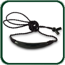 Delicate, black Jade crescent or half-moon pendant with traditional fixture design.