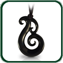 Ornate, Maori-inspired pendant in Australian black Jade.