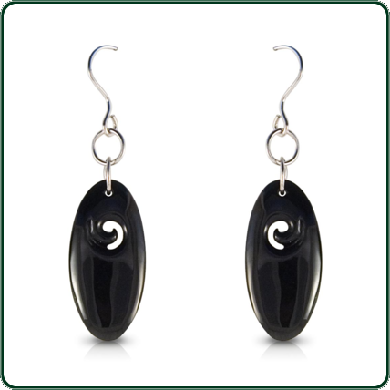 Delicately carved black-Jade pendant earrings reflecting traditional South Pacific design.