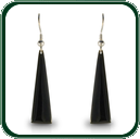 Elegant drop pendant earrings in Australian black Jade and fine silver.