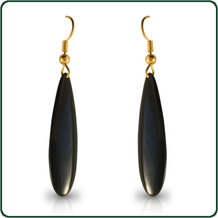 Elongated tear-drop pendant earrings carved in black Jade with beaded gold fixture.