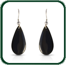 Black Jade teardrop pendant earrings on silver fixtures.