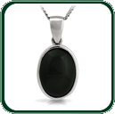 Classic black Jade oval pendant set in silver.