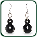 Australian black Jade pendant earrings inspired by traditional Pacific 'twist' design on silver French hook.