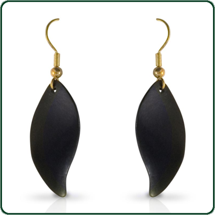 A subtle and elegant jewellery piece, these delicate leaf pendant earrings are carved from black Nephrite Jade.