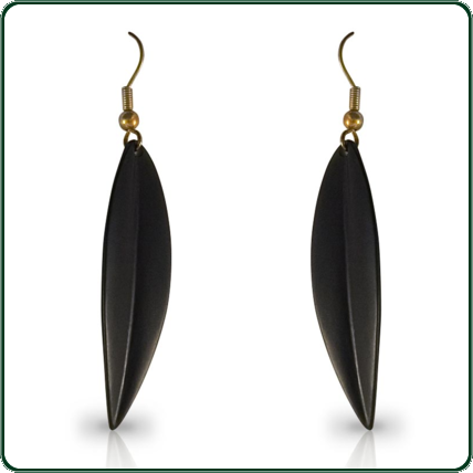 A subtle and elegant jewellery piece, these delicate leaf earrings are carved from black Nephrite Jade.