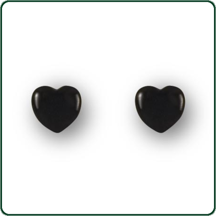 Australian black Jade love heart stud earrings make an ideal complement for day or evening wear.