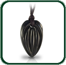 Nature inspired abstract leaf design pendant carved in black Jade on plaited lacing.