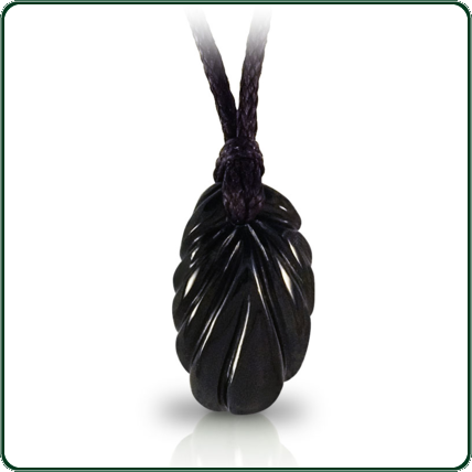 Based on traditional plant motif, this pendant is finely carved in black Nephrite Jade.