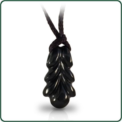 Symmetry and flow embody the unique design of this black, carved Jade pendant looped with plaited lacing.